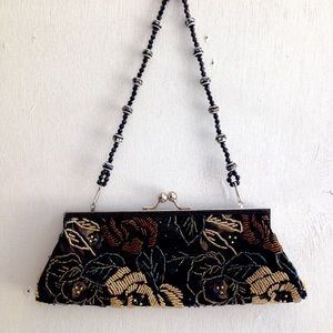 Floral Beaded Evening Clutch Bag w 2 Straps